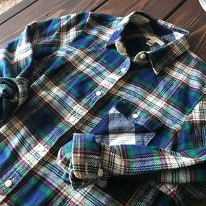J. Crew patchwork  plaid flannel button down